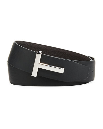 T-Buckle Reversible Leather Belt