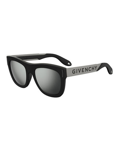 Stainless Steel & Rubber Square Logo Sunglasses