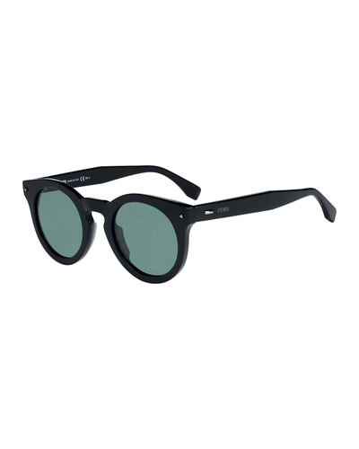 Sun Fun Men's Round Acetate Sunglasses