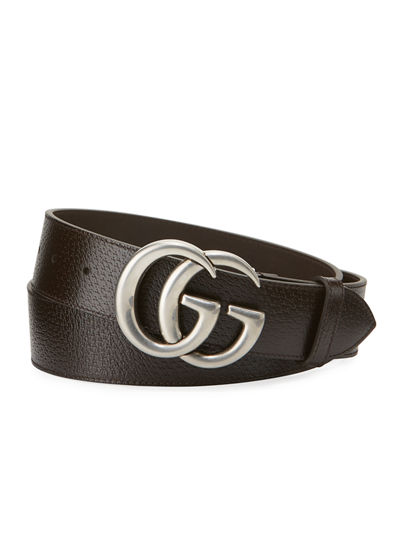 Men's Leather Belt with Silvertone Double-G Buckle