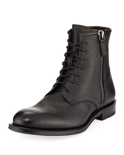Victor Pebbled Leather Lace-Up Boot