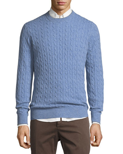 Cashmere Cable-Knit Crewneck Sweater