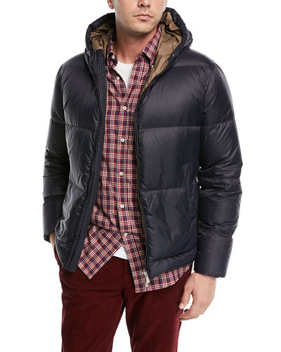 Hooded Zip-Front Puffer Coat