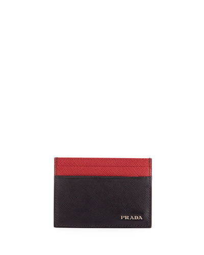 Colorblock Saffiano Leather Card Case