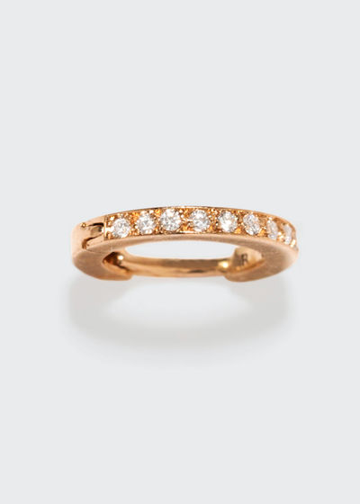 Mini Half Pavé Diamond Single Hoop Earring in 18K Gold