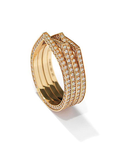 Antifer Four-Row Ring with Diamonds in 18K Gold