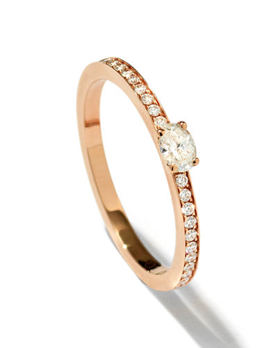 Mini Parallel Oval-Cut Diamond Ring in 18K Gold
