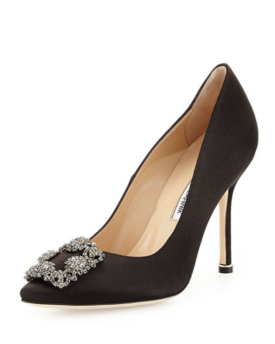 Hangisi Satin Crystal-Toe Pump, Black
