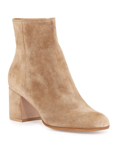 Gianvito Rossi Suede Block-Heel Ankle Boot