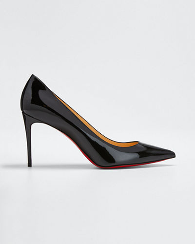 christian louboutin decollete leather red sole pump black