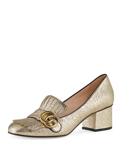 Gucci Marmont Metallic Loafer Pump