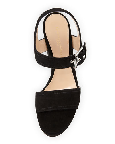 Suede Two-Band Platform Sandal
