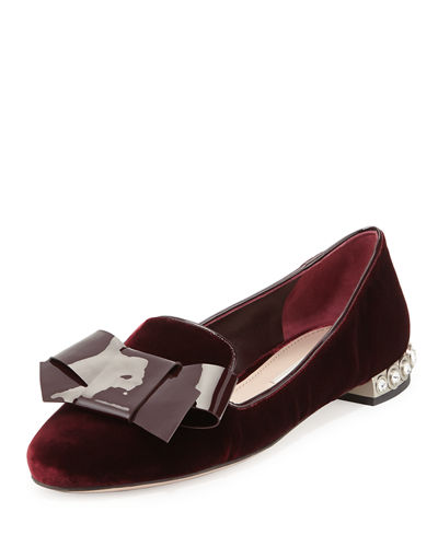 Velvet Jewel-Heel Smoking Slipper