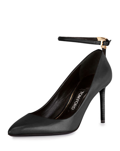 Leather Ankle-Wrap 85mm Pump