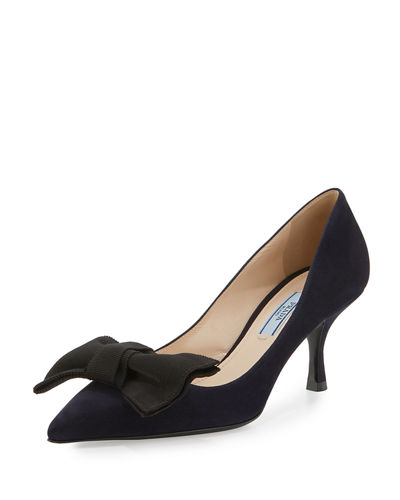 Suede Point-Toe 65mm Bow Pump