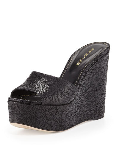 Lakeesha Crackled Suede Wedge Mule