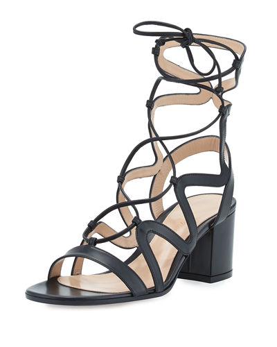 Gianvito Rossi Lace-Up Block-Heel 60mm Gladiator Sandal