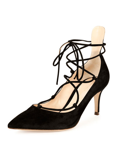 Gianvito Rossi Suede Lace-Up 70mm Pump