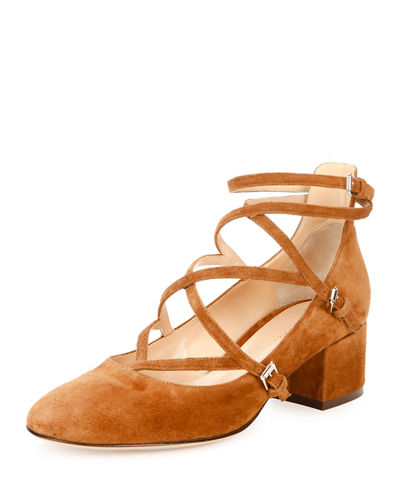 Suede Crisscross Block-Heel 45mm Pump
