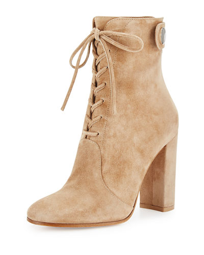 Gianvito Rossi Suede Lace-Up Ankle Boot