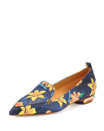 Beya Floral Pointed-Toe Loafer