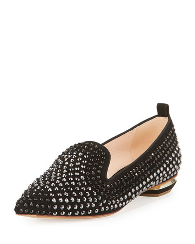 Beya Pointed-Toe Crystal Loafer