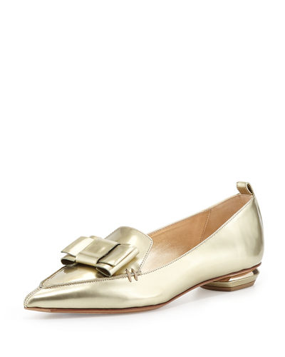 Nicholas Kirkwood Beya Metallic Point-Toe Loafer