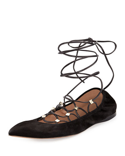 Lace-Up Suede Ballerina Flat