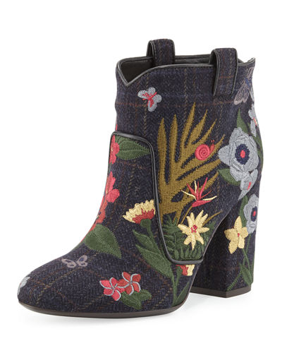 Pete Embroidered Wool Ankle Boot