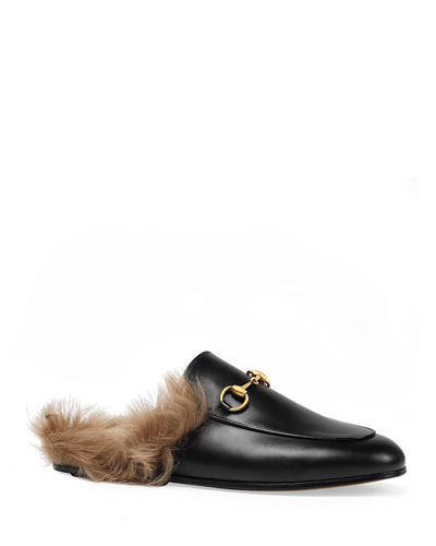 Princetown Fur-Lined Leather Mule, Black