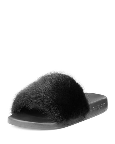 Mink Fur & Rubber Slide Sandal