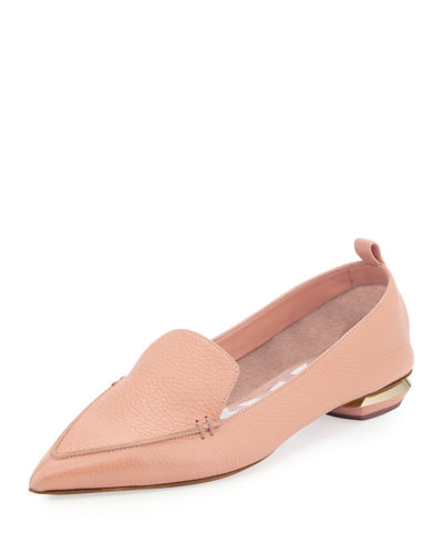 Beya Pebbled-Leather Point-Toe Loafer