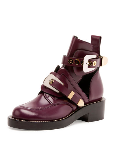 Flat Moto Ankle Boot w/Buckles