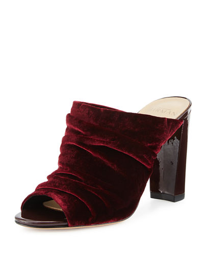 Ruched Velvet 90mm Mule Pump