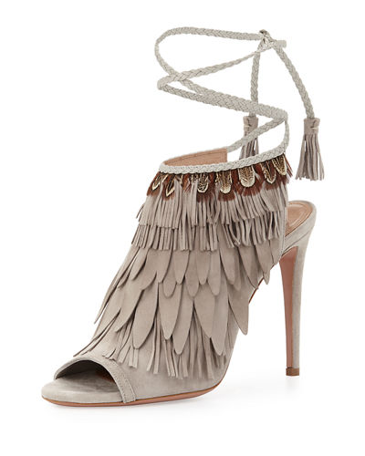 Aquazzura Fringed Suede Ankle-Tie Sandal