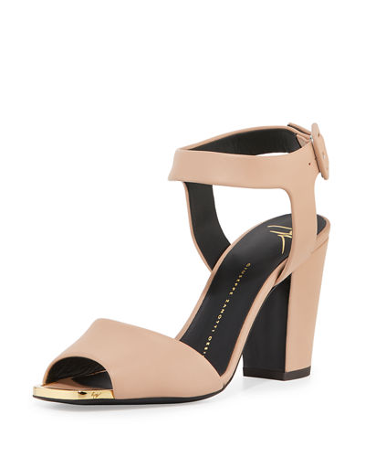 Matte Leather Block-Heel Sandal