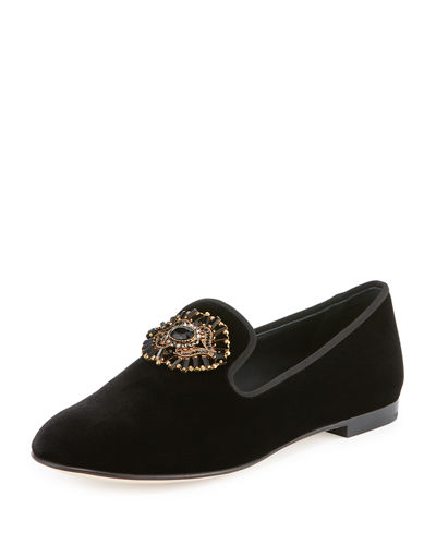 Velvet Skull Crystal Smoking Slipper