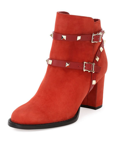 Rockstud Suede 70mm Ankle Bootie