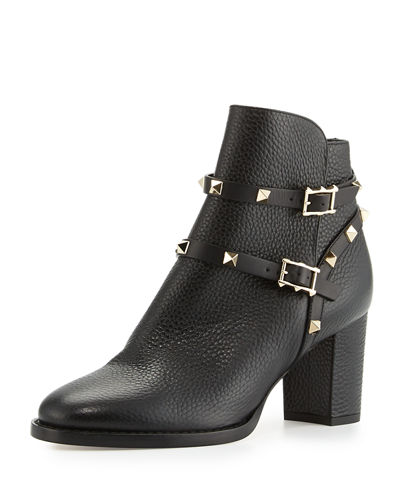 Rockstud Leather 70mm Ankle Bootie