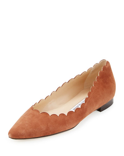 Srilas Scalloped Suede Flat