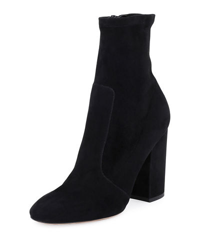 Stretch-Suede Ankle Bootie, Black