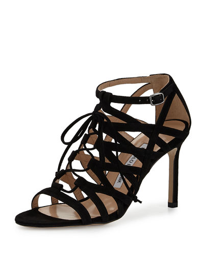 Vostra Strappy Suede Lace-Up Sandal
