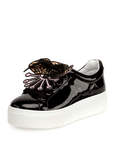 Kenzo Patent Leather Platform Sneaker w/Detachable Applique