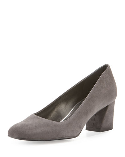 Marymid Suede Mid-Heel Pump, Black
