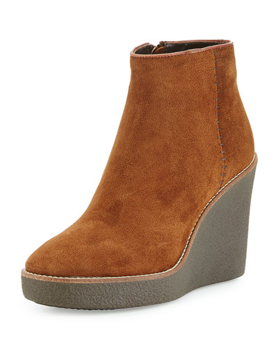 Aquatalia Vena Shearling Fur-Lined Wedge Bootie