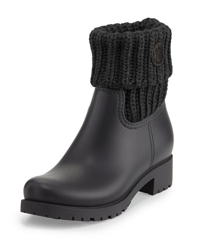 Ginette Rubberized Leather Boot w/Knit Collar