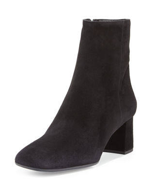 PRADA Suede Square-Toe Ankle Boot, Black (Nero) at BERGDORF GOODMAN