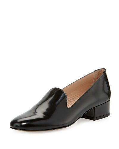 Polished Leather Block-Heel Loafer