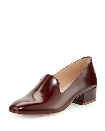 Mansur Gavriel Polished Leather Block-Heel Loafer