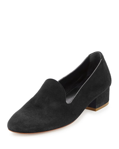Suede Block-Heel Loafer